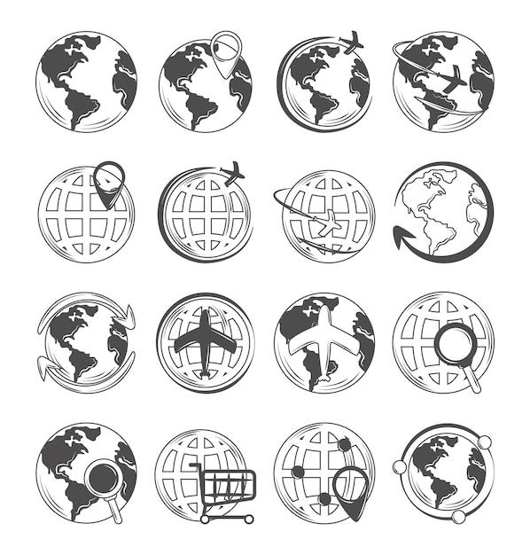Le icone della mappa del globo del mondo hanno impostato lo shopping e la posizione della connessione di viaggio Vettore Premium