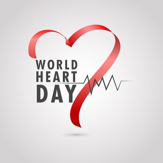 Testo della giornata mondiale del cuore con impulso e nastro di seta rosso su sfondo lucido. Vettore Premium