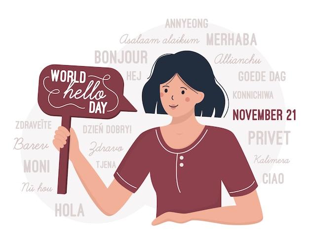 Giornata mondiale del ciao 21 novembre. una donna si congratula per la giornata internazionale dei saluti Vettore Premium