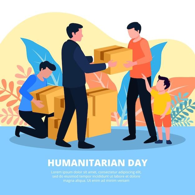 Tema dell'illustrazione di giornata umanitaria mondiale Vettore Premium