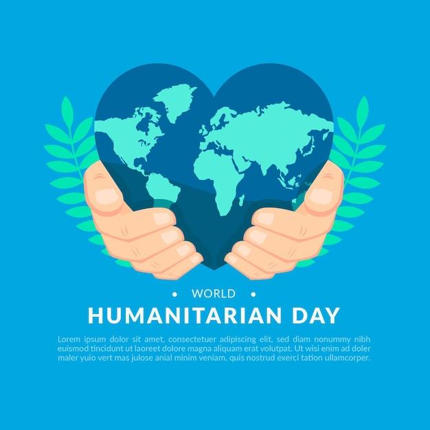 Giornata mondiale umanitaria con terra a forma di cuore Vettore Premium