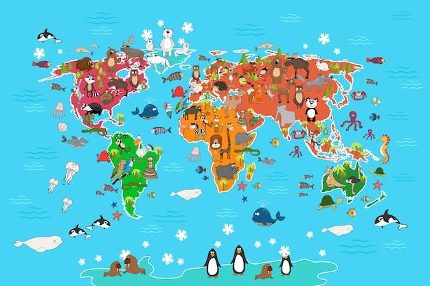 Mappa del mondo con gli animali. scimmia e riccio, orso e canguro, panda lupo lepre e pinguino e pappagallo. illustrazione di vettore della mappa del mondo degli animali nello stile del fumetto Vettore Premium