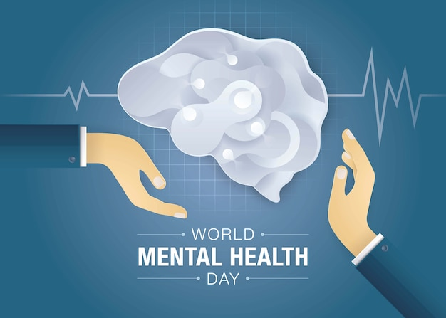 Sfondo della giornata mondiale della salute mentale Vettore Premium