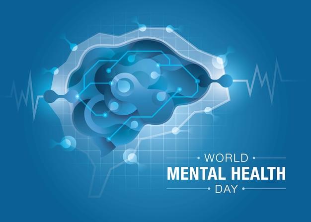 Giornata mondiale della salute mentale, cervello e salute mentale, cervello encefalografico, forma astratta di liquido fluido sulla forma del cervello Vettore Premium