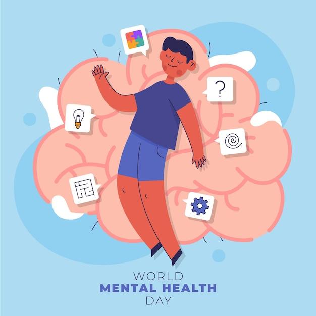 Illustrazione della giornata mondiale della salute mentale Vettore Premium
