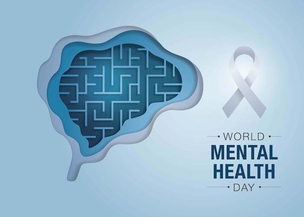 Giornata mondiale della salute mentale, maze brain and mental health, encephalography brain. Vettore Premium