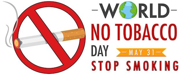 Logo della giornata mondiale senza tabacco con segno rosso vietato fumare Vettore Premium