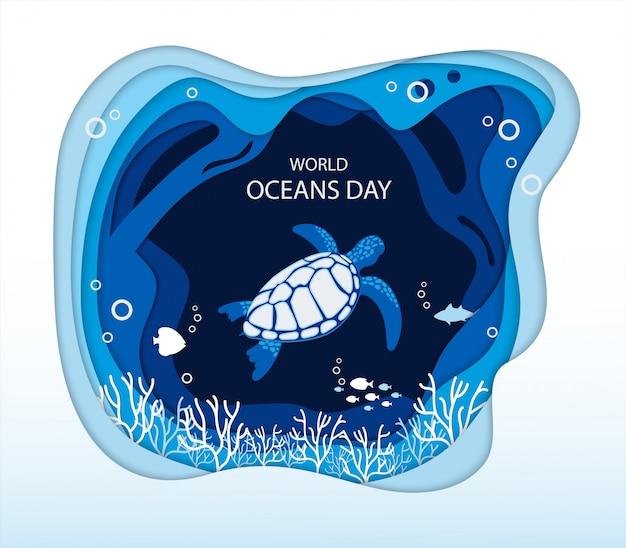 Giornata mondiale degli oceani infografica con onda blu del mare e tartaruga marina Vettore Premium