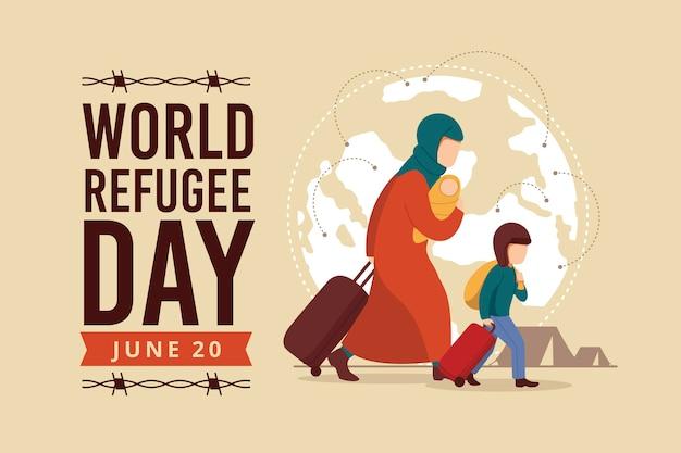 Giornata mondiale del rifugiato con madre e figlio Vettore Premium