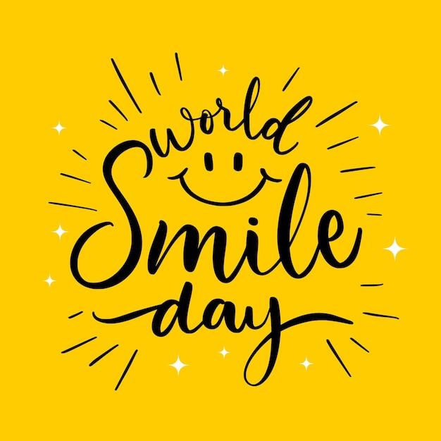 Iscrizione di giornata mondiale del sorriso con faccia felice Vettore Premium