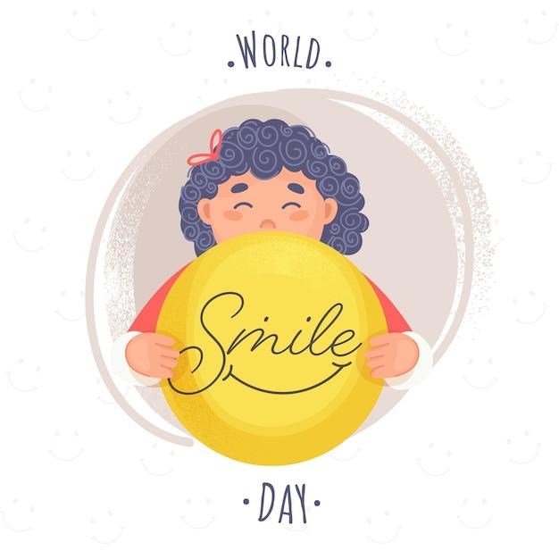 Testo della giornata mondiale del sorriso con la ragazza del fumetto che tiene una faccina sorridente e l'effetto pennello rumore marrone su sfondo bianco. Vettore Premium