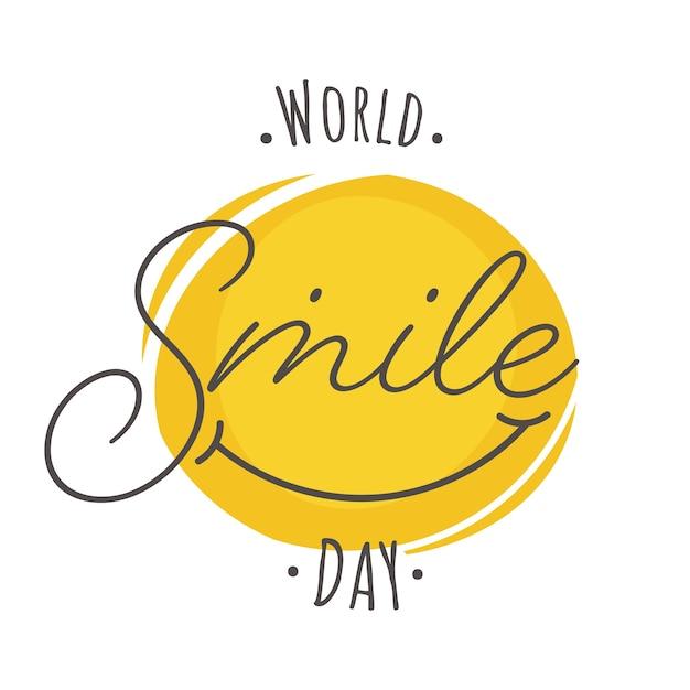 Testo della giornata mondiale del sorriso con faccina sorridente creativa su sfondo bianco. Vettore Premium