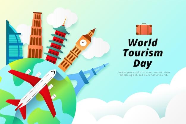 Stile di illustrazione della giornata mondiale del turismo Vettore Premium