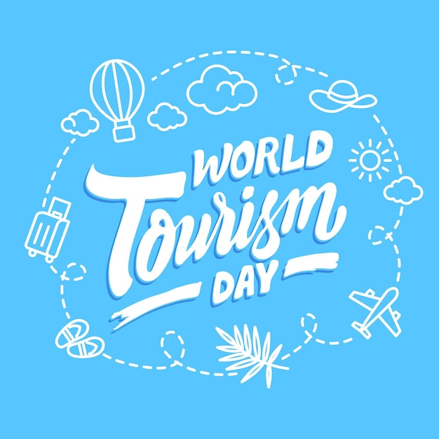 Lettering della giornata mondiale del turismo Vettore Premium