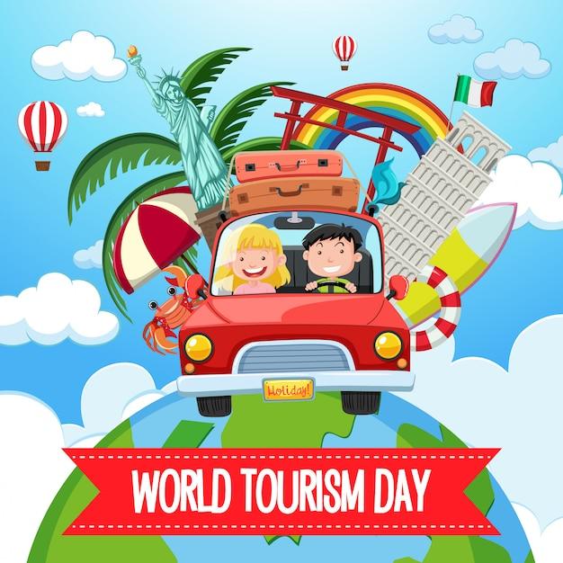 Logo della giornata mondiale del turismo con coppia turistica e famosi elementi di monumenti turistici Vettore Premium