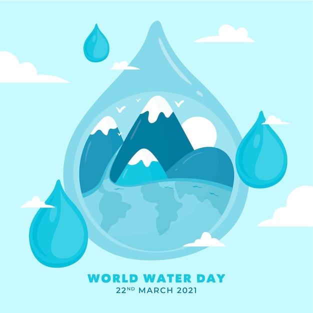 Giornata mondiale dell'acqua disegnata a mano Vettore Premium