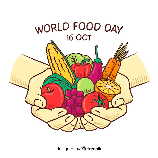 Giornata mondiale dell'alimentazione con persona in possesso di verdure Vettore Premium