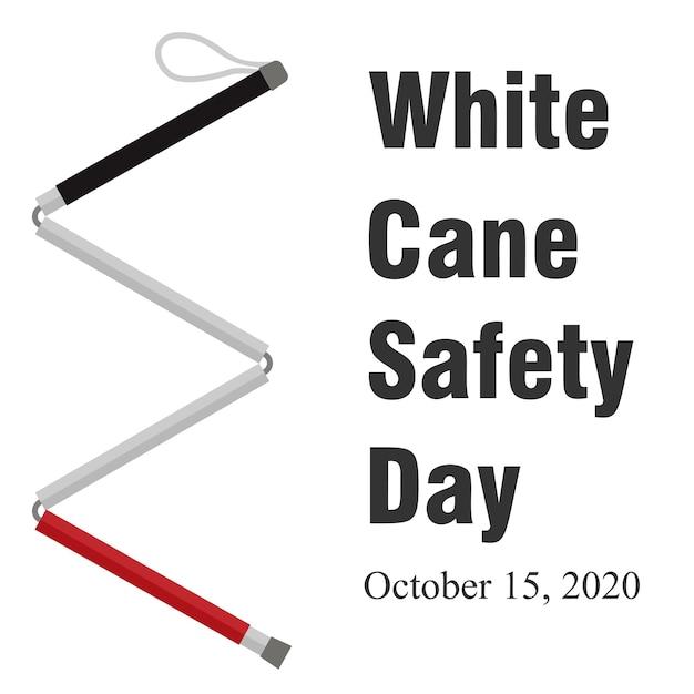 Illustrazione mondiale della giornata della sicurezza del bastone bianco Vettore Premium