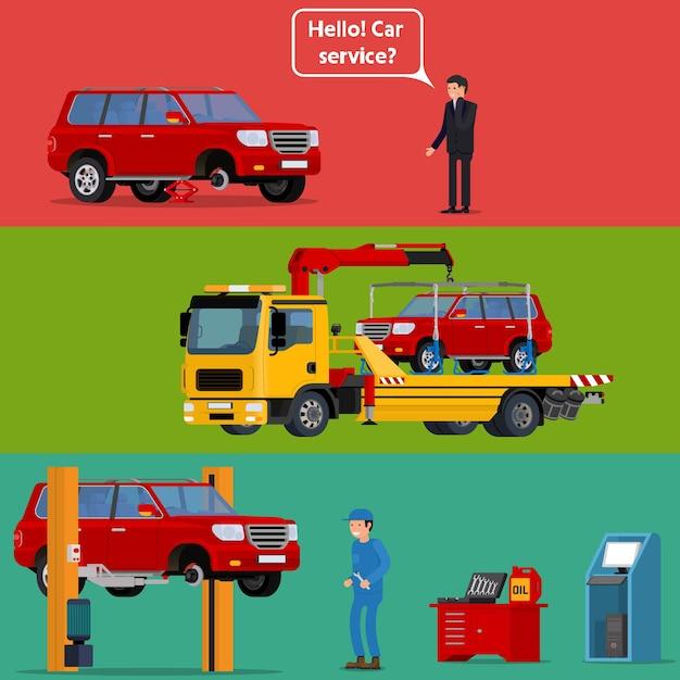 Autista preoccupato che chiama l'assistenza stradale per aiutare con la sua auto in panne. Vettore Premium