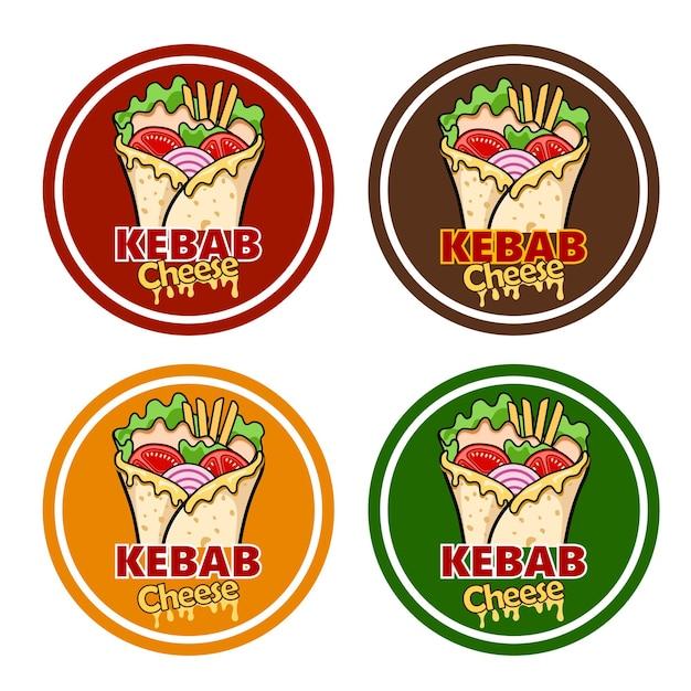 Avvolgere il formaggio kebab e gli ingredienti per il kebab Vettore Premium