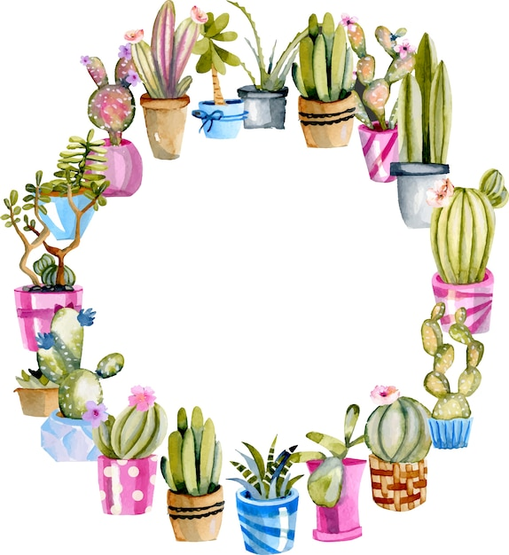 Corona di cactus acquerello in un vaso Vettore Premium