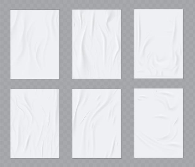Set modello realistico di carta stropicciata Vettore Premium