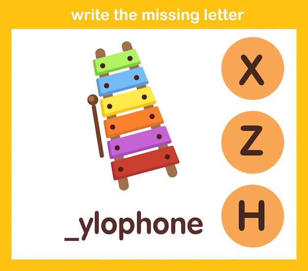 Scrivi la lettera mancante Vettore Premium