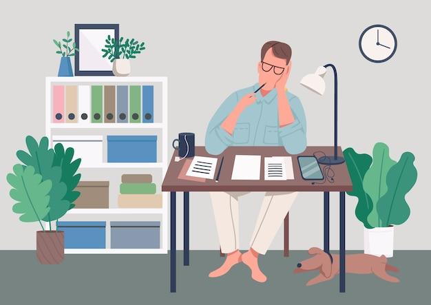 Scrittore a casa illustrazione di colore piatto Vettore Premium