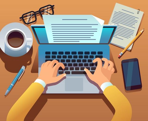 Writer scrive il documento. il giornalista crea storytelling con il laptop. mani che digitano sulla tastiera del computer. concetto di scrittura della storia Vettore Premium