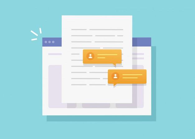 Scrivendo e collaborando chattando contenuto documento cartaceo online sul sito web o creando una lettera web di testo elettronico con la condivisione di discussione piatta illustrazione fumetto vettoriale Vettore Premium