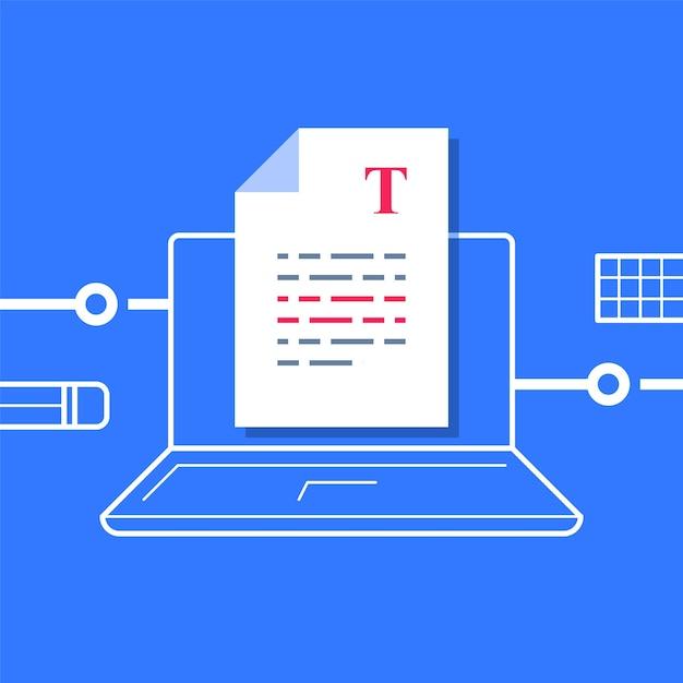 Scrittura di un documento, modifica del testo, foglio su computer, miglioramento del testo di un articolo, concetto di narrazione o copywriting, compilazione di un riepilogo, autore del contenuto, illustrazione Vettore Premium