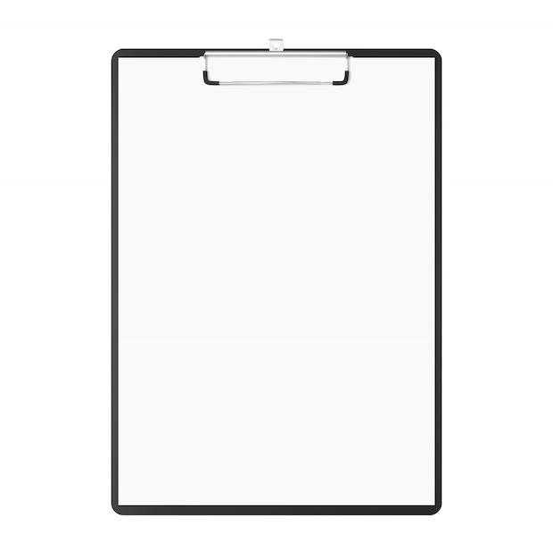 Scrittoio con copia-spazio. lavagna per appunti con le carte in bianco e lo spazio della copia isolato su fondo bianco. bloc notes Vettore Premium