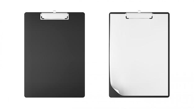 Scrittoio con copia-spazio. lavagna per appunti con le carte in bianco e lo spazio della copia su isolato su fondo bianco. bloc notes Vettore Premium
