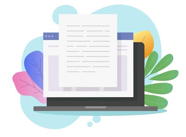 Scrivere contenuti di testo online sul computer portatile Vettore Premium