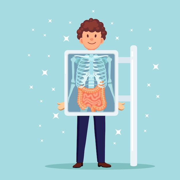 Macchina a raggi x per la scansione del corpo. roentgen dell'osso toracico. ultrasuoni di intestini, budella Vettore Premium