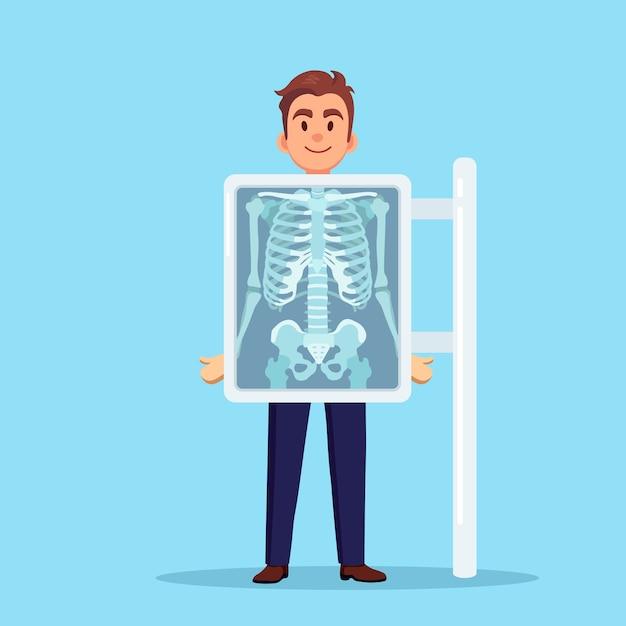 Macchina a raggi x per la scansione del corpo umano. roentgen dell'osso toracico. visita medica per intervento chirurgico Vettore Premium