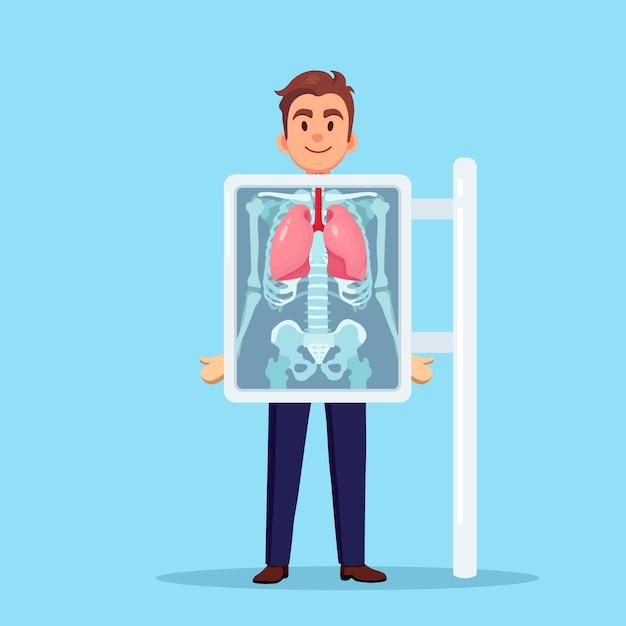 Macchina a raggi x per la scansione dei polmoni umani. roentgen dell'osso toracico. diagnosi di cancro, tubercolosi, polmonite. visita medica di infezioni respiratorie per intervento chirurgico. design piatto Vettore Premium