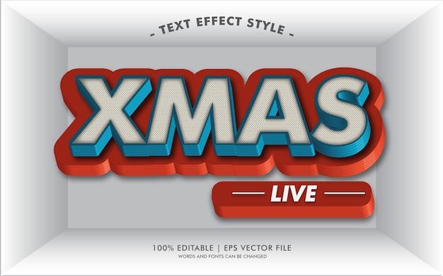 Stile di effetti del testo di xmas live Vettore Premium