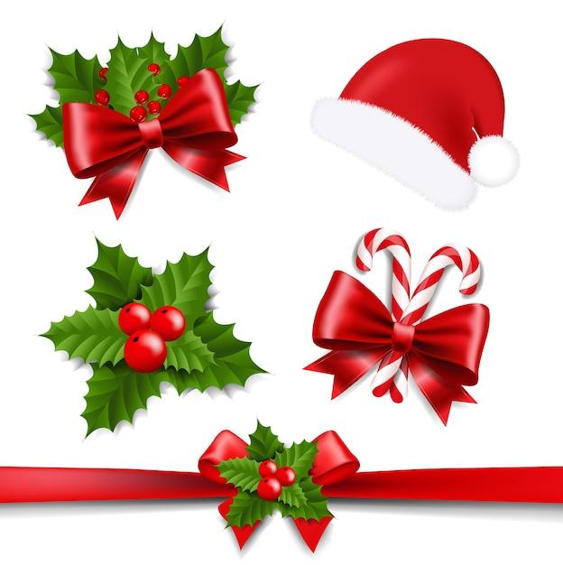 Xmas ribbon bow e holly berry set sfondo bianco Vettore Premium