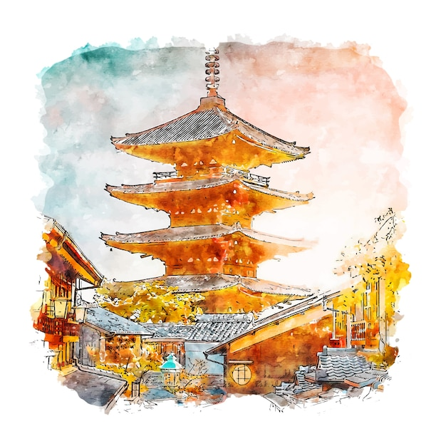 Illustrazione disegnata a mano di schizzo dell'acquerello del giappone della pagoda di yasaka Vettore Premium