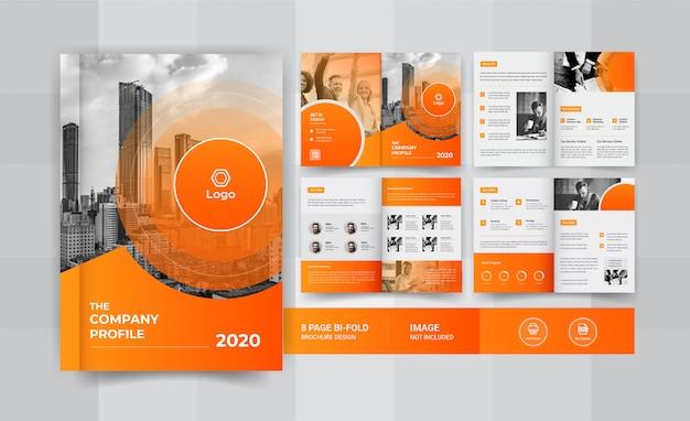Design brochure aziendale giallo 8 pagine Vettore Premium
