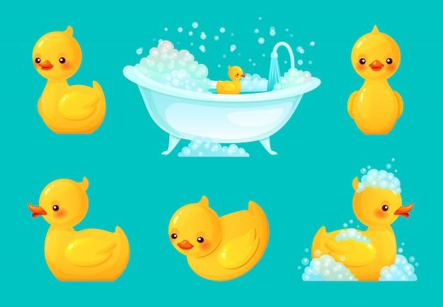 Anatra da bagno gialla. vasca da bagno con schiuma, bagno rilassante e spa illustrazione di anatre di gomma del fumetto Vettore Premium