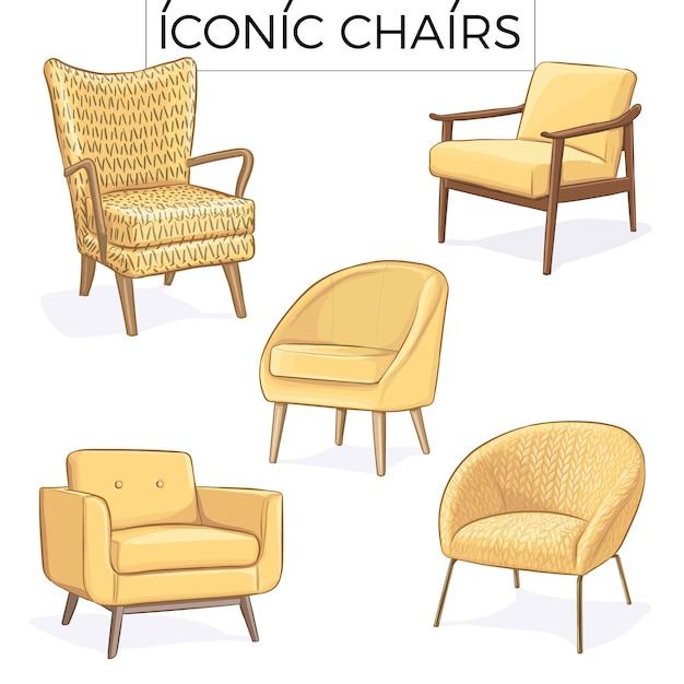 Illustrazione disegnata a mano sedia gialla Vettore Premium