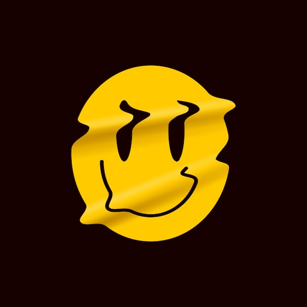 Emoji giallo sorriso distorto isolato su sfondo nero. adesivo con logo giallo viso sorriso o modello di poster per spettacolo comico. Vettore Premium