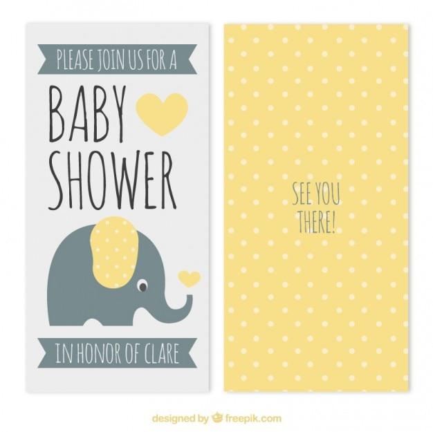 Puntini gialli doccia baby card Vettore Premium