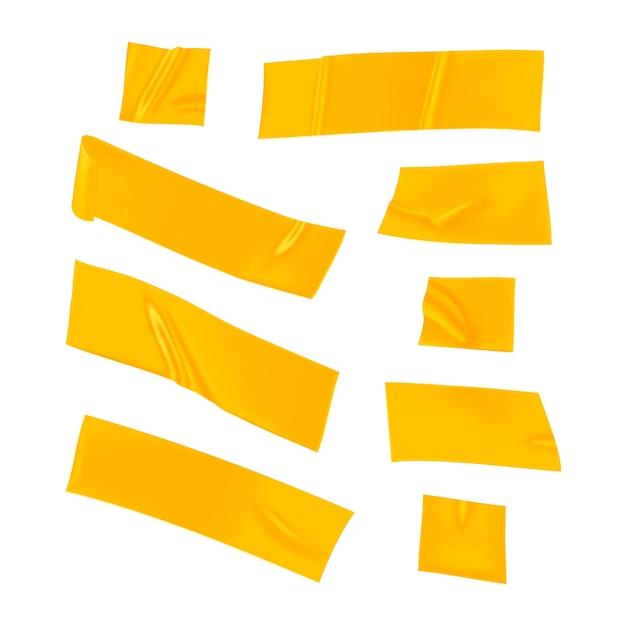 Set nastro adesivo giallo. pezzi di nastro adesivo giallo realistico per il fissaggio isolato. carta incollata. Vettore Premium