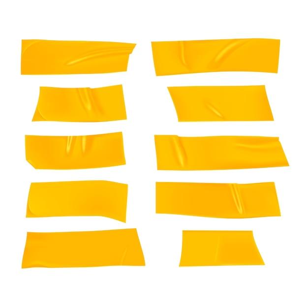 Set nastro adesivo giallo. pezzi di nastro adesivo giallo realistico per il fissaggio isolato Vettore Premium