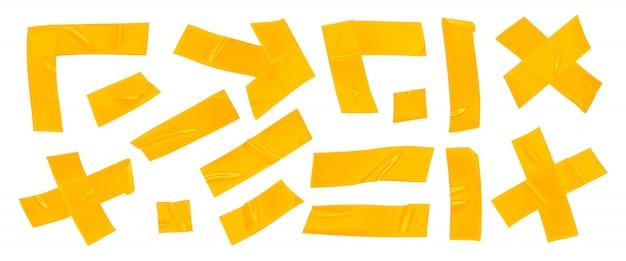 Set nastro adesivo giallo. Vettore Premium