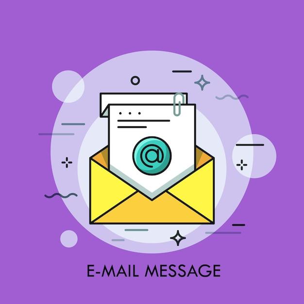 Busta gialla e foglio di carta bianco con un simbolo su di esso concetto di messaggio di posta elettronica posta elettronica posta in arrivo messaggio di posta elettronica Vettore Premium