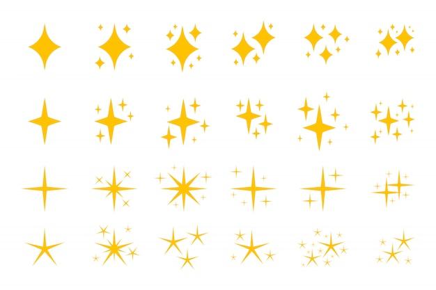Insieme dell'icona di simboli di scintille piatte gialle. Vettore Premium